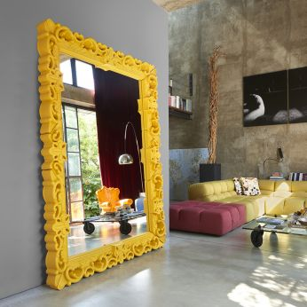 Mirror of Love - Polyethylene mirror in saffron yellow colour, different sizes available