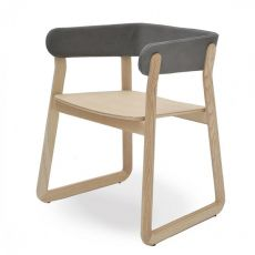 Galatea - Valsecchi wooden chair, padded and covered backrest