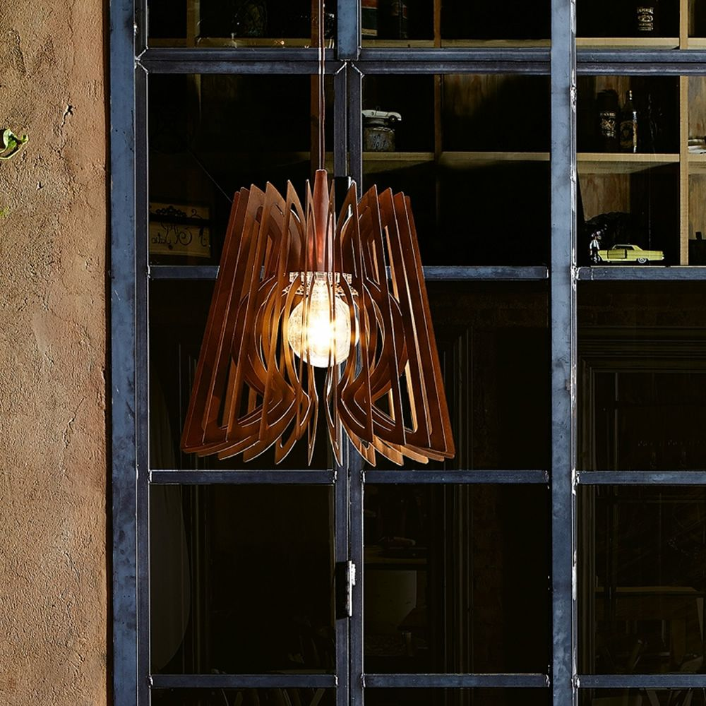 Suspension lamp in corten effect steel