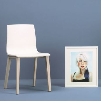 Smilla Tec 2841 - Bleached beech wood design chair with white linen technopolymer seat