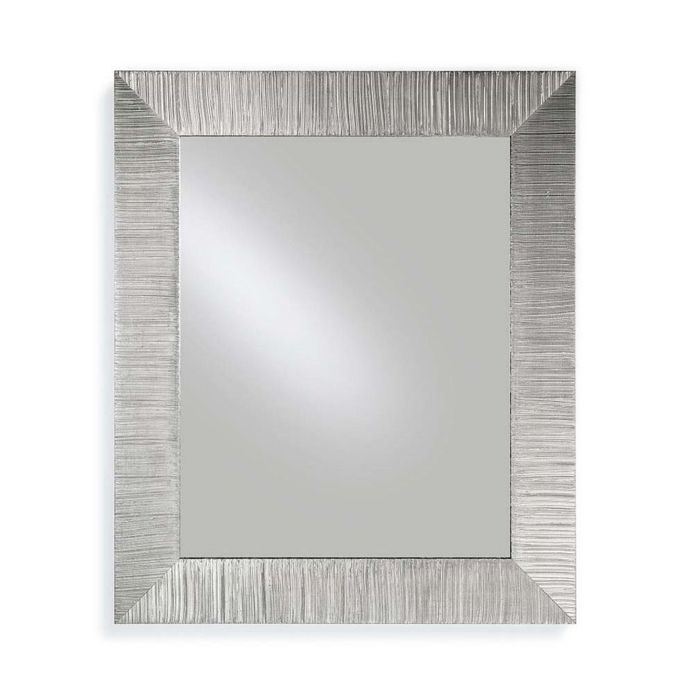 Mirror with wooden frame, silver leaf decoration