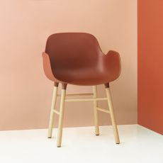 Form-PW - Normann Copenhagen wooden armchair, polypropylene seat, different colours available