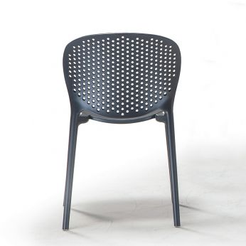 TT1060 - Stackable chair made of polypropylene and glass fiber, in anthracite grey colour, also for outdoor