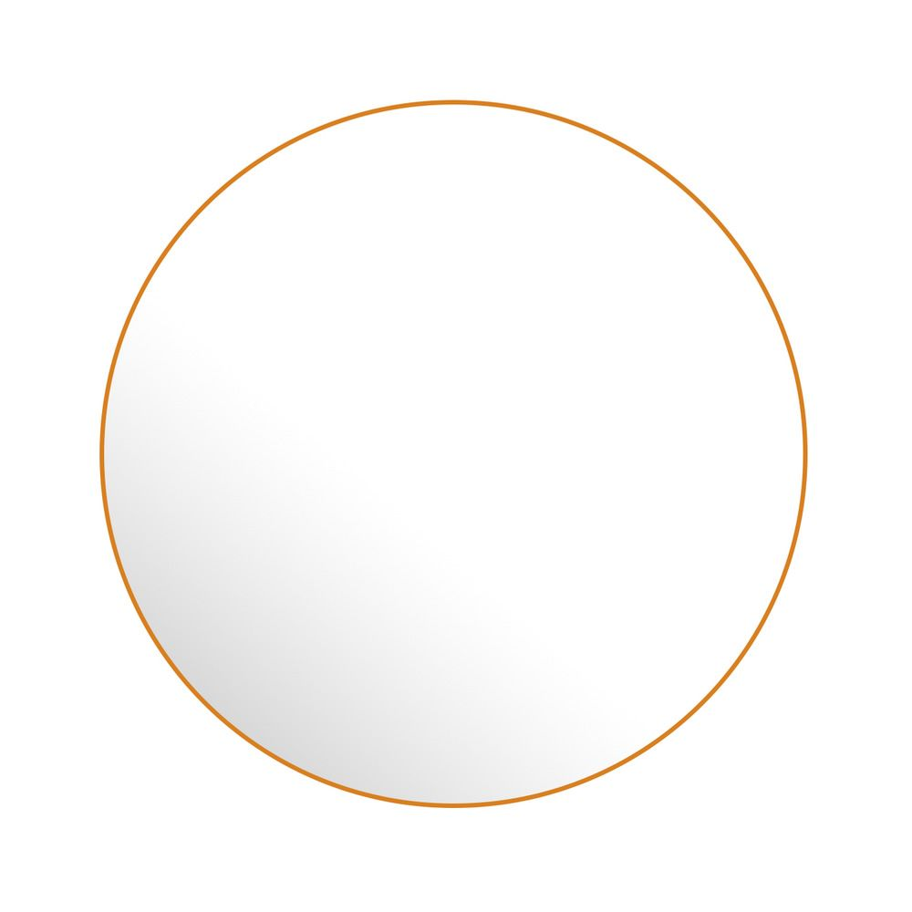 Wall-mounted mirror in varnished steel, orange colour, mat finish