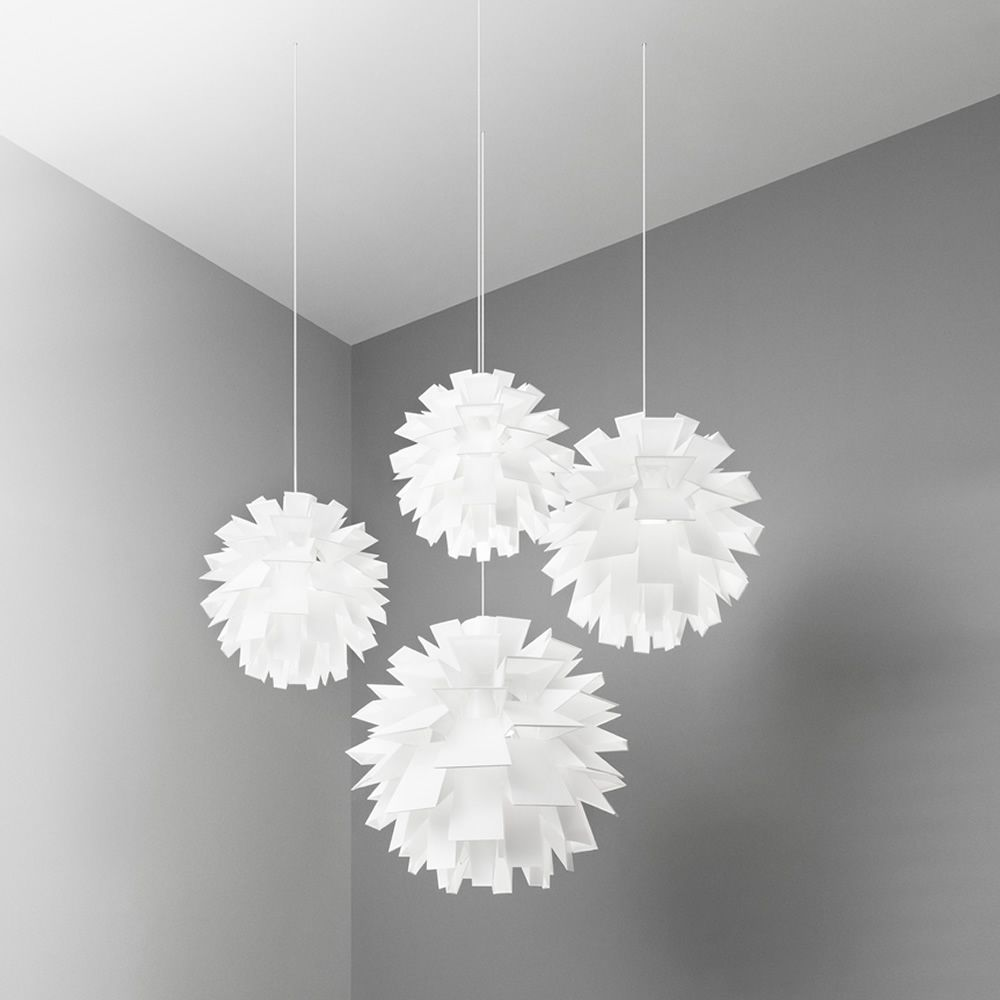 Pendant lamps made of plastic material in white colour