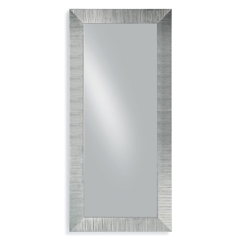 Wooden mirror with silver leaf decoration frame, chamfered glass, 70x170cm