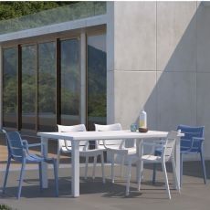 Ercole 2145 - Fixed table in technopolymer, 170 x 100 cm, also for garden