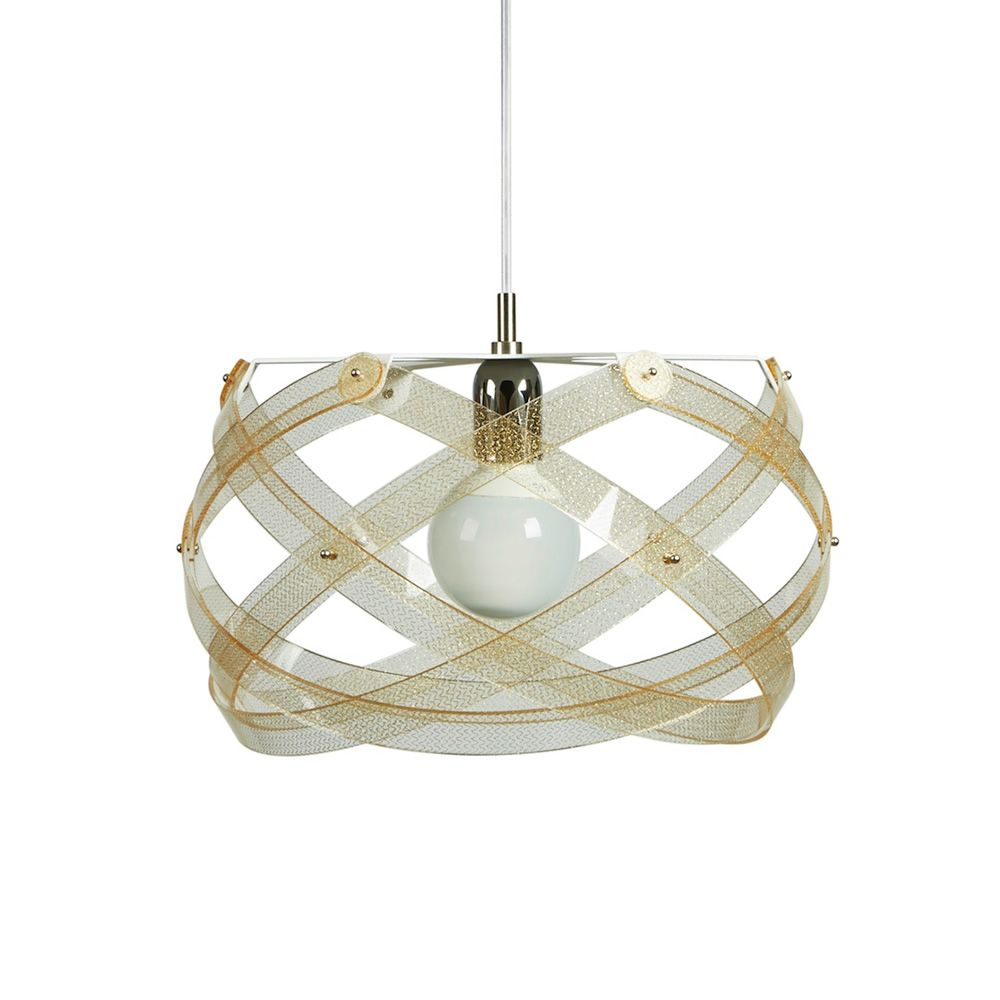 Suspension lamp with metacrylate lampshade, texture gold