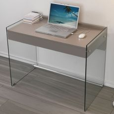 Mydesk - Glass writing desk with drawer and laminated top