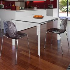 Universe-110 - Domitalia metal table, wooden top, 110 x 70 cm extendable