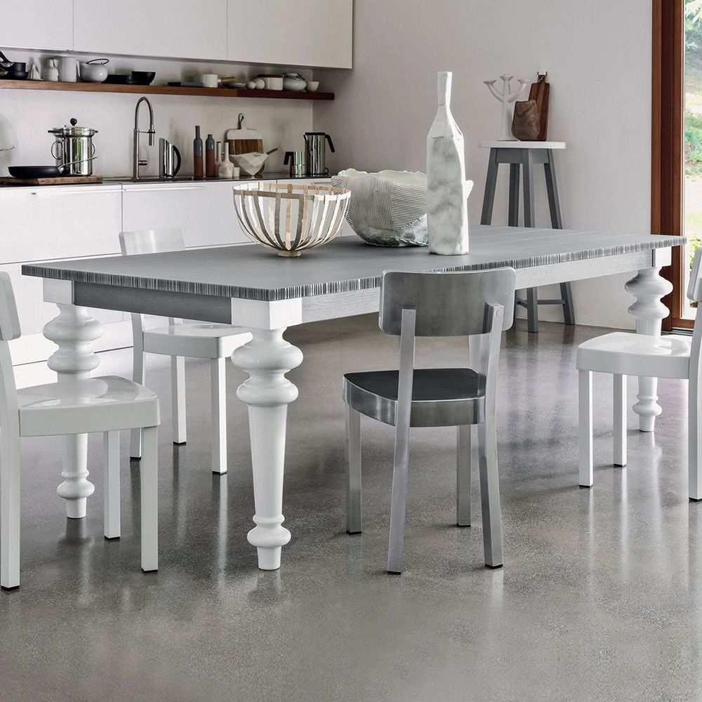 Rectangular table in white china, with grey lacquered wooden top