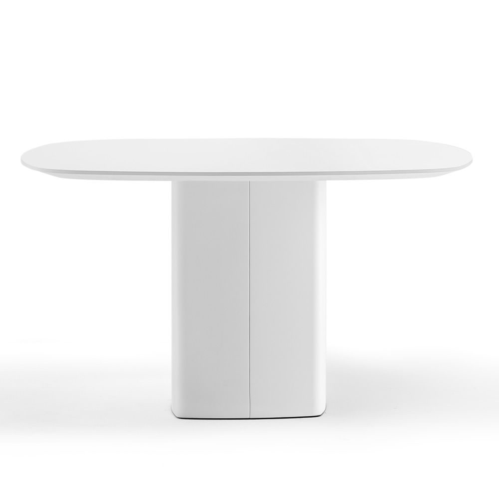 Fixed design table, in metal, with white solid laminate top