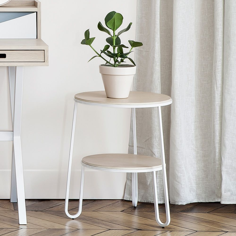 Side table in metal and wood