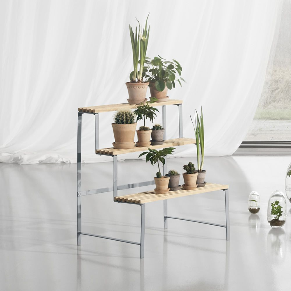 Shelving unit for objects / Flower pot stand made of metal, shelves in ash wood with natural finish