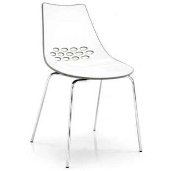 CB1059 Jam - Chromed metal chair with two-coloured polycarbonate seat, white - dove-grey version
