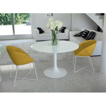Corona 120 - Round table made of white varnished metal