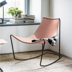 Apelle DN - Midj rocking armchair, made of metal and natural hide