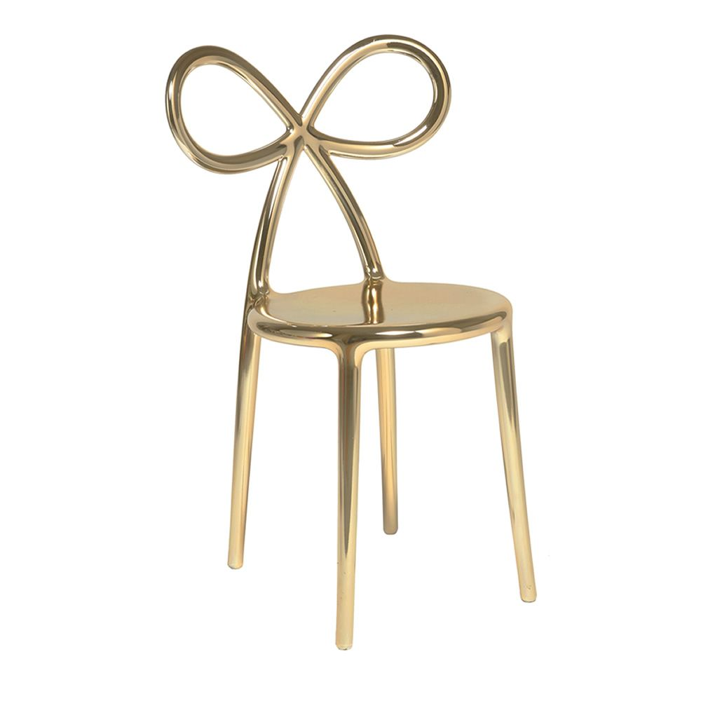 Design chair in polypropylene with gold metallic finish
