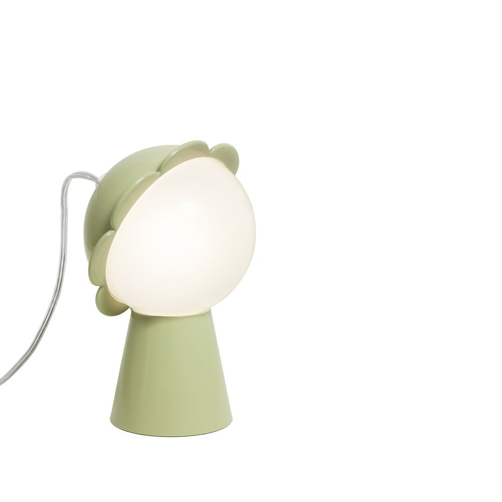 Flower-shaped table lamp in green colour