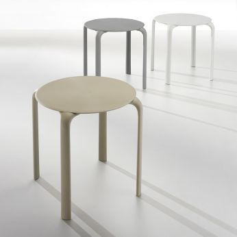 Drop Table - Stackable polypropylene tables, in white, grey and sand colours
