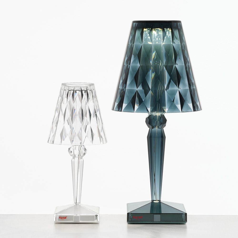 Kartell table lamp in transparent technopolymer, matched with table lamp Battery