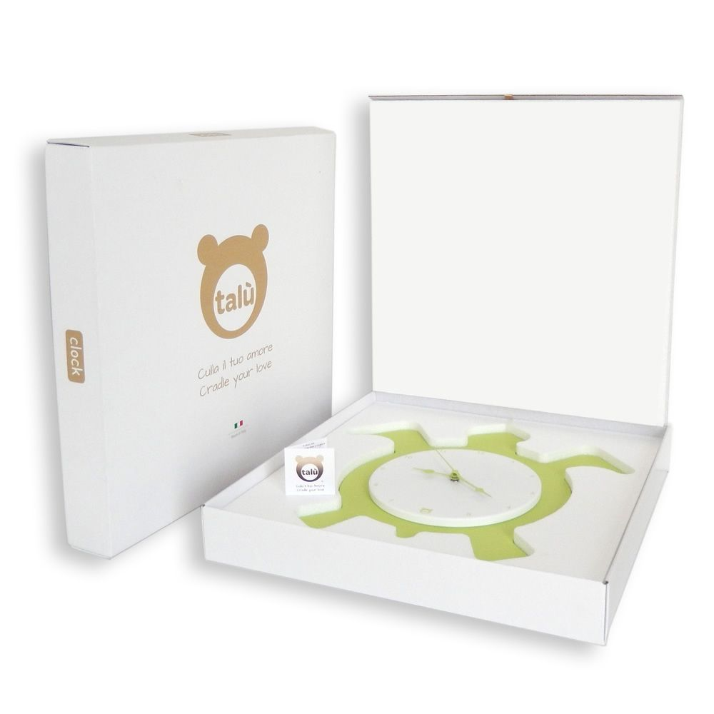 Wall clock in green lacquered MDF wood, with its gift-packaging