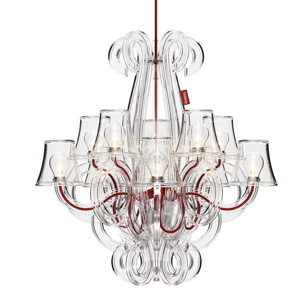 Hanging chandelier in transparent polycarbonate