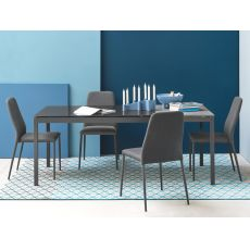 CB4085-MV 110 Snap Outlet - Connubia Calligaris extendable metal table, 110 x 70 cm glass top