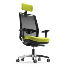 ML329 - Office task chair, high backrest in net with headrest, lombar support, with padded seat