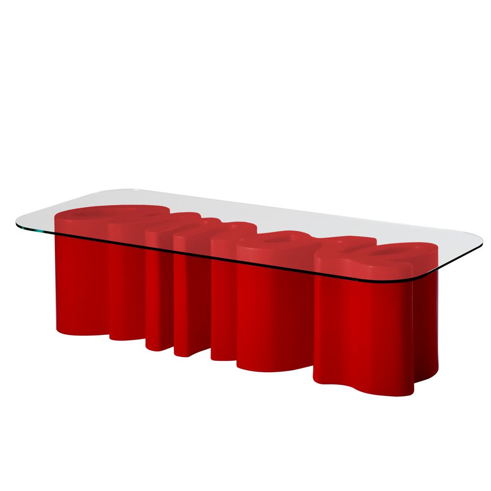 Polyethylene coffee table, with transparent glass top, flame red colour