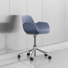Form-PS - Normann Copenhagen aluminium armchair, polypropylene seat, swivel and adjustable, with wheels