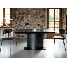 Discovery C - Domitalia table made of metal or veneered wood, ceramic top, 160 x 98 cm extendable