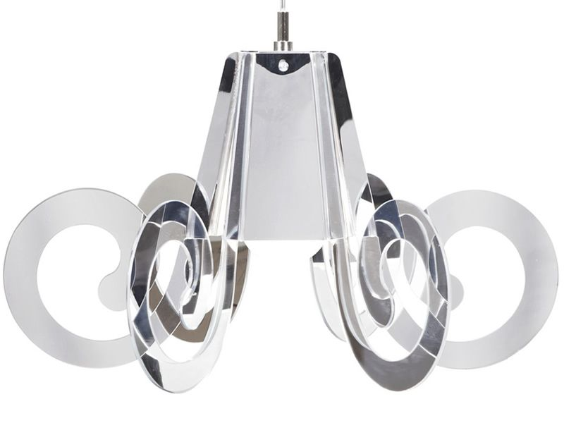 Suspension lamp with metacrylate lampshade, chromed version