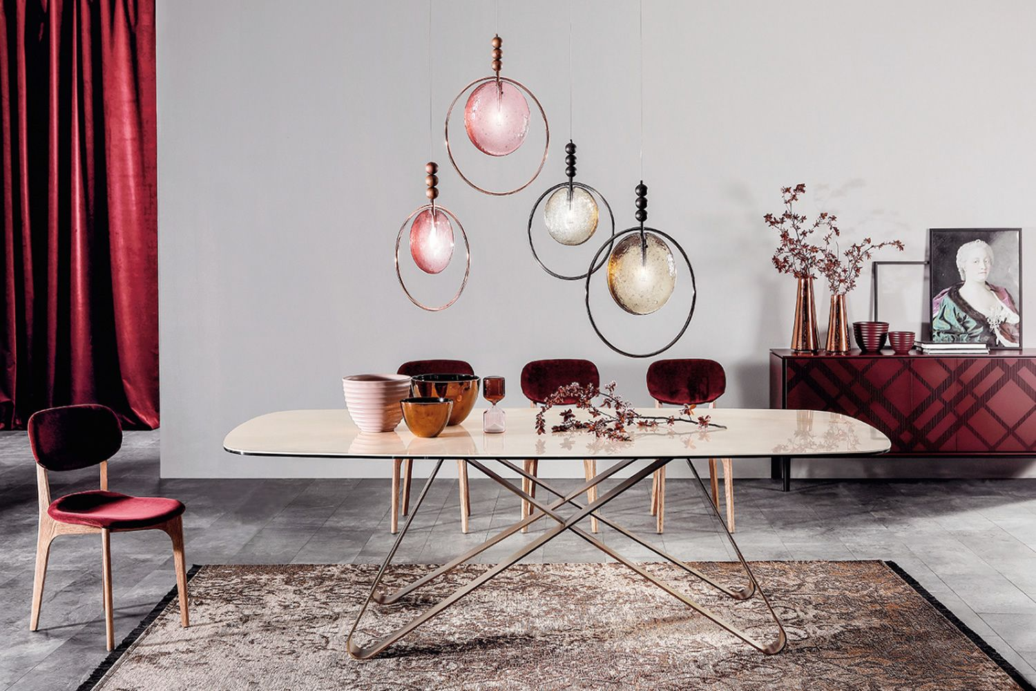 Suspension lamp with structure in metal, glass and wood
