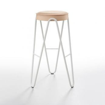Apelle Jump - Stool with white varnished metal structure and padded seat