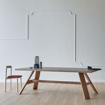 Artigiano - Rectangular table in wood, top in London grey Fenix