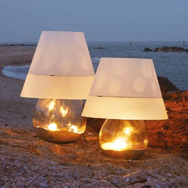 Outdoor floor lamp, glass and sandylex, S and M sizes