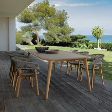 Moon - Wooden table for garden, wooden top available in several sizes