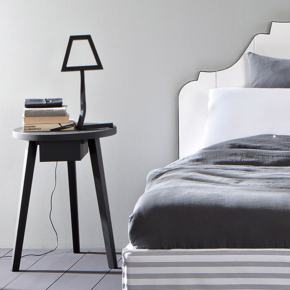 Bedside table in grey lacquered solid wood