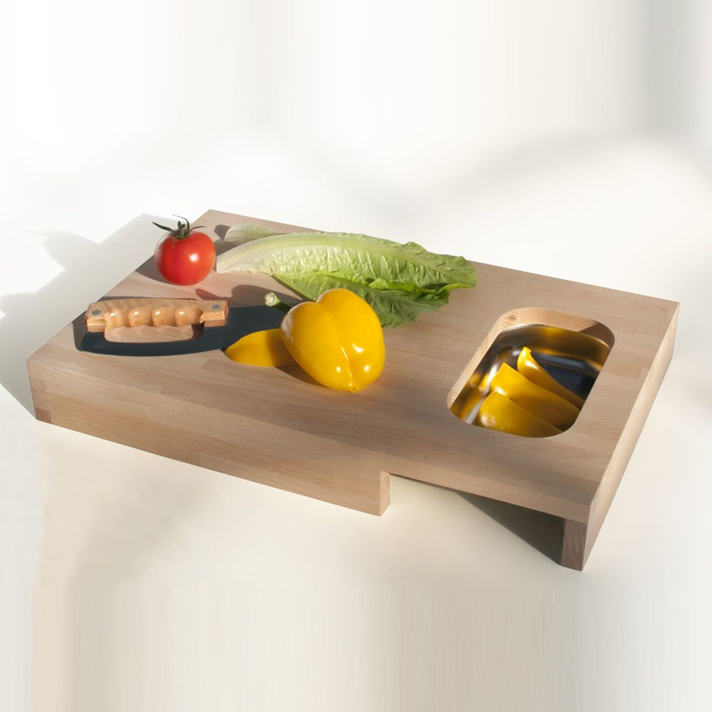 Chopping board made of solid beech wood with stainless steel container