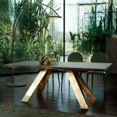 Celtis 8084FS - Tonin Casa fixed metal table, with wooden top 200 x 100 cm