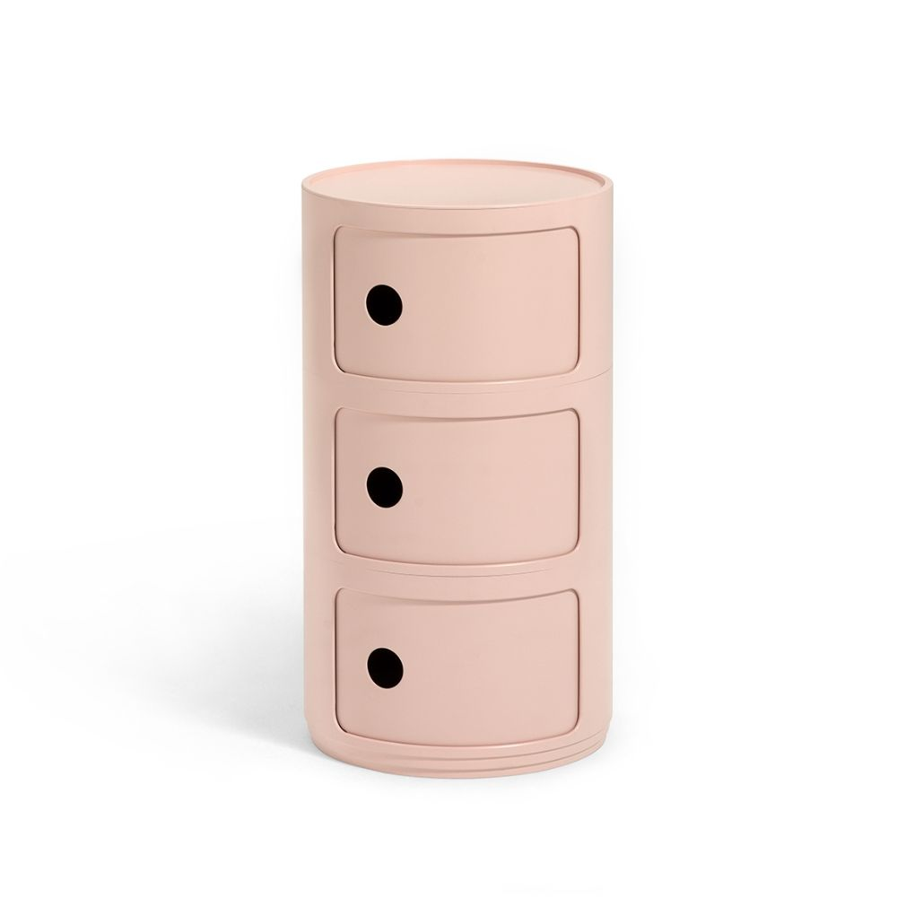 Design Kartell container, with three drawers, pink colour