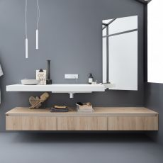 45 - Bath cabinet with Korakril™ top and integrated sink, 3 drawers, available in several colours