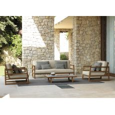 Alabama Set - Outdoor iroko set: sofa + 2 armchairs + 1 coffee table