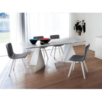 Flexa-LX - Chair made of white lacquered ash wood, seat covered with slate grey fabric