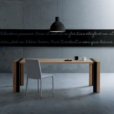 Zack - Modern metal and wooden table, wooden top 213x90 cm, extendable