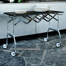 Battista - Design Kartell folding trolley, in chromed metal et polyurethane