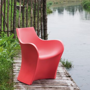 Woopy - Armchair for garden, in coral red colour