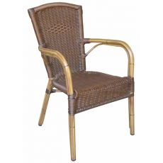 A59 - Outdoor chair with armrests for bar or restaurant, stackable, made of aluminium and imitation rattan