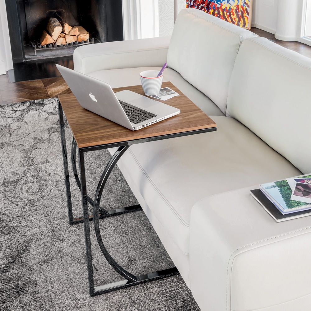 Coffee table made of black chromed metal with Canaletto walnut wooden top